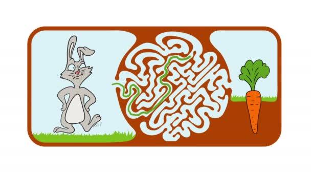 Maze puzzle pro děti s králičí a mrkev, labyrint ilustrace s roztokem