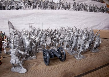 Tin soldiers at the flea market Izmailovo. Moscow, Russia. March, 2017