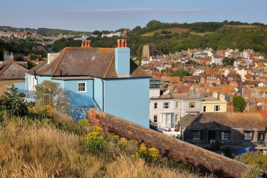 General view of Hastings old town from West Hill with East hills in the background, Hastings, UK