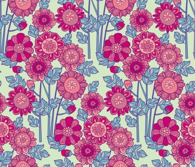 merygold flower seamless pattern. aster floral decorative vector