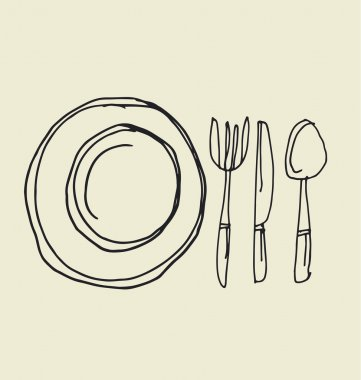 kitchen tableware hand drawn image. fork, knife, plate and spoon