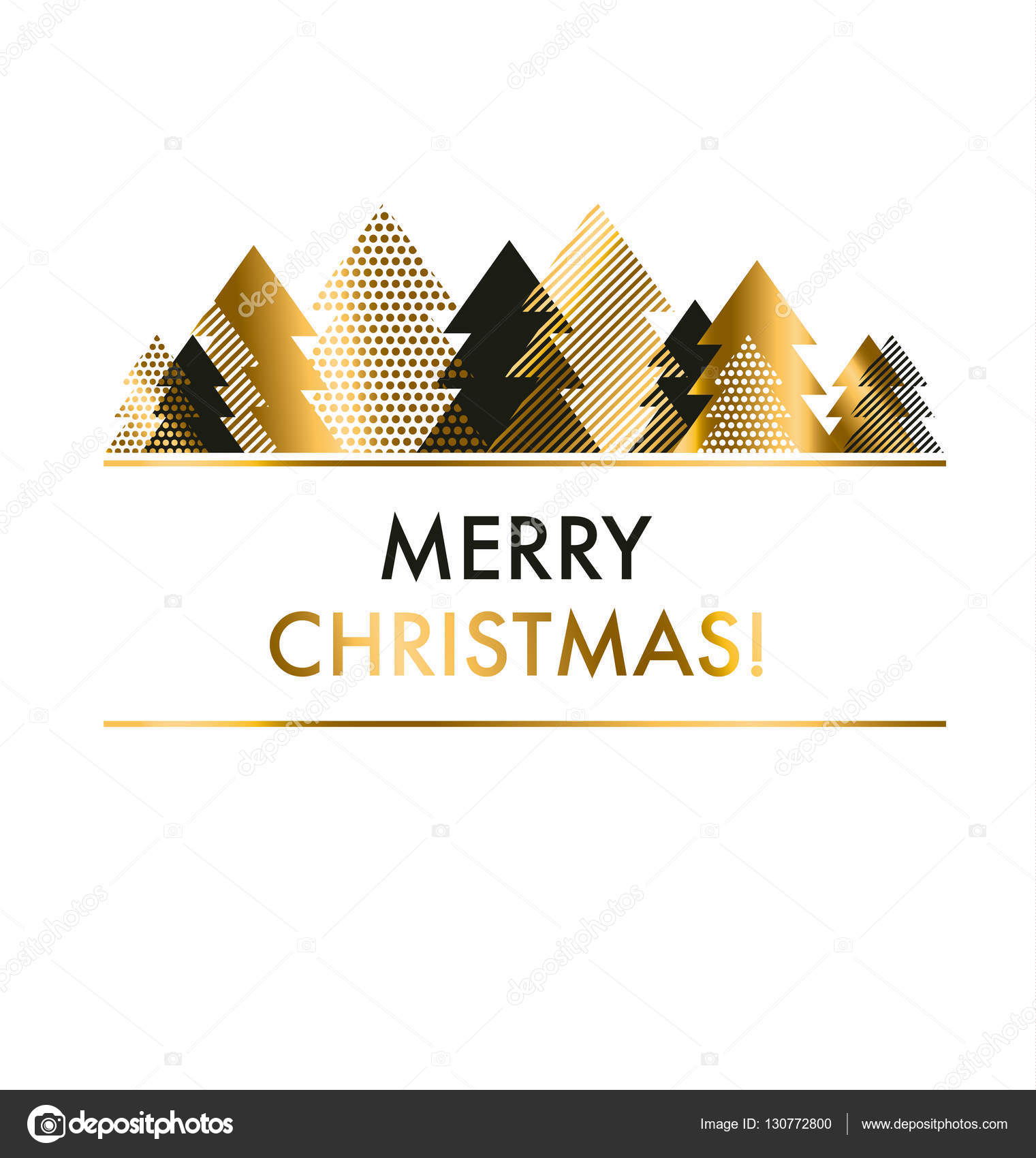 luxury style black and gold Christmas card template. vector illu ...