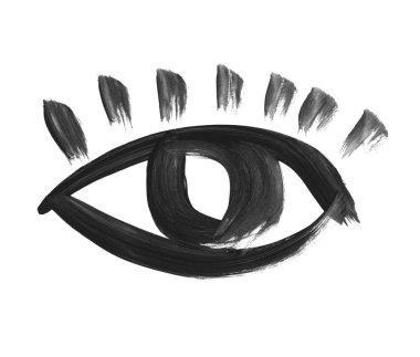 hand drawn eye symbol. painted eye icon. shabby brush painted lo