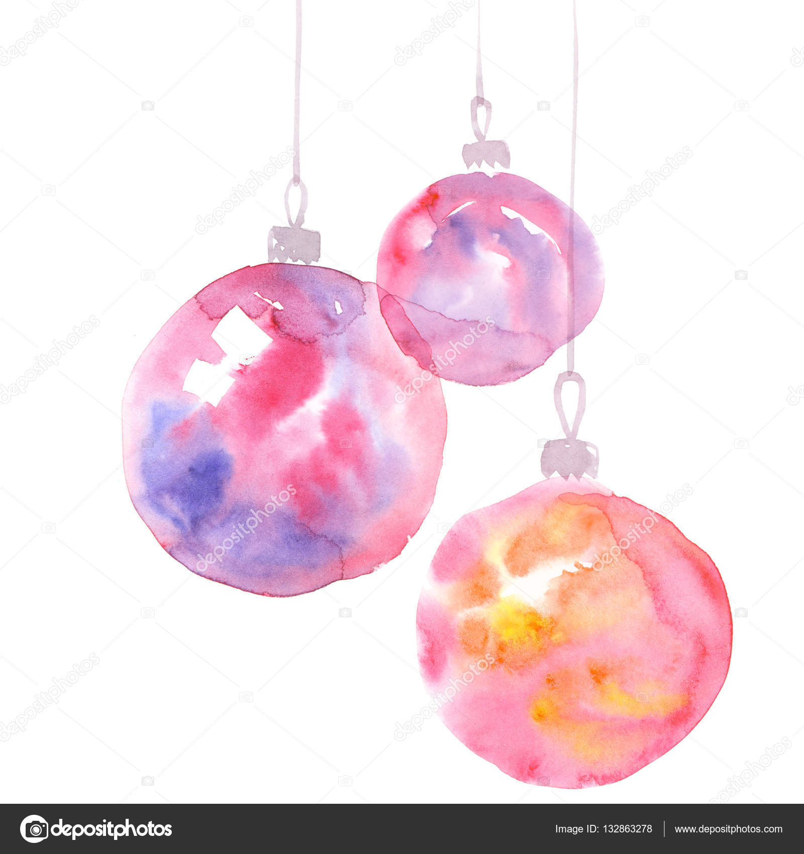 Hand Painted Elegant Xmas Bubbles Decor Cute Simple Christmas Tree Bulbs Decoration Design Element New Tear Decorative Background Photo By Galyna