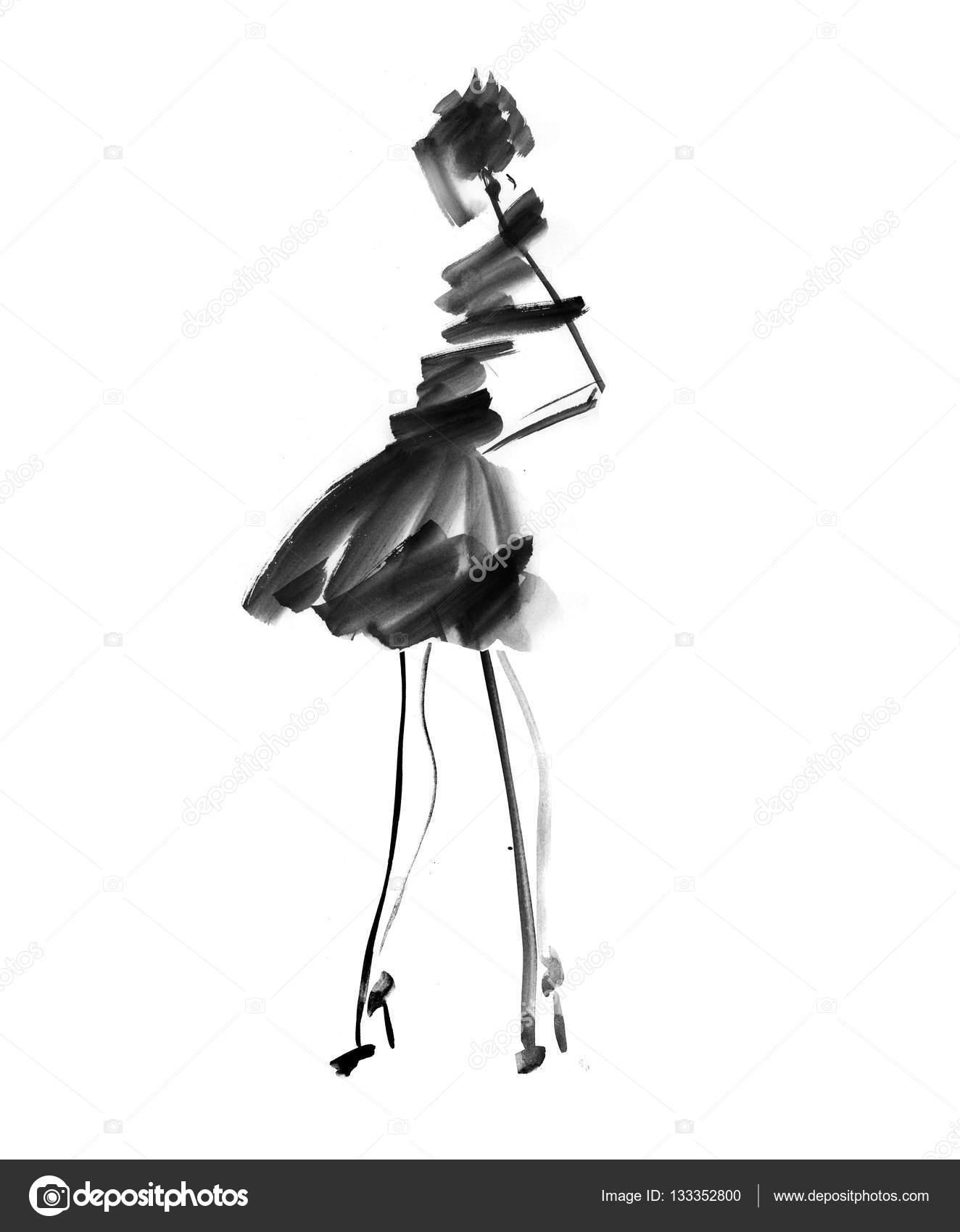 Рисованная девушка на черном фоне