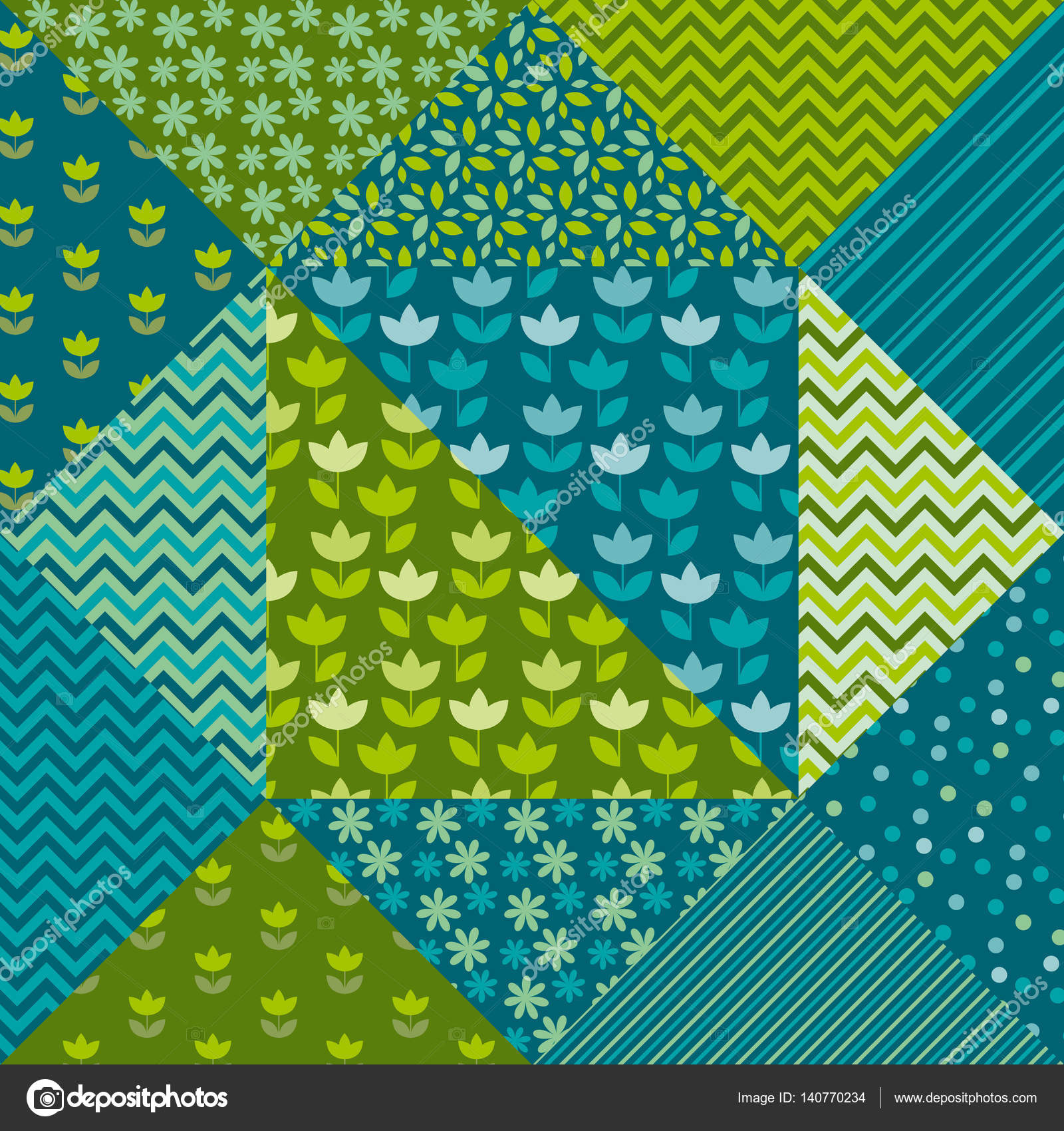 bright spring color tulip flower and geometry motif patchwork. s ...