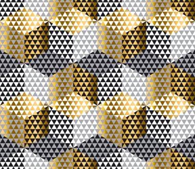 gold and black geometry hexagon seamless fabric sample. geometri
