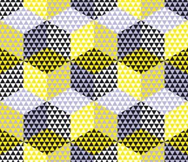 yellow and gray geometry hexagon seamless fabric sample. geometr