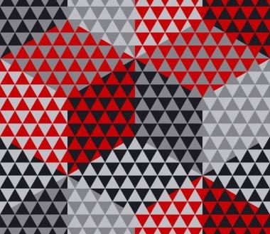 red and gray geometry hexagon seamless fabric sample. geometric
