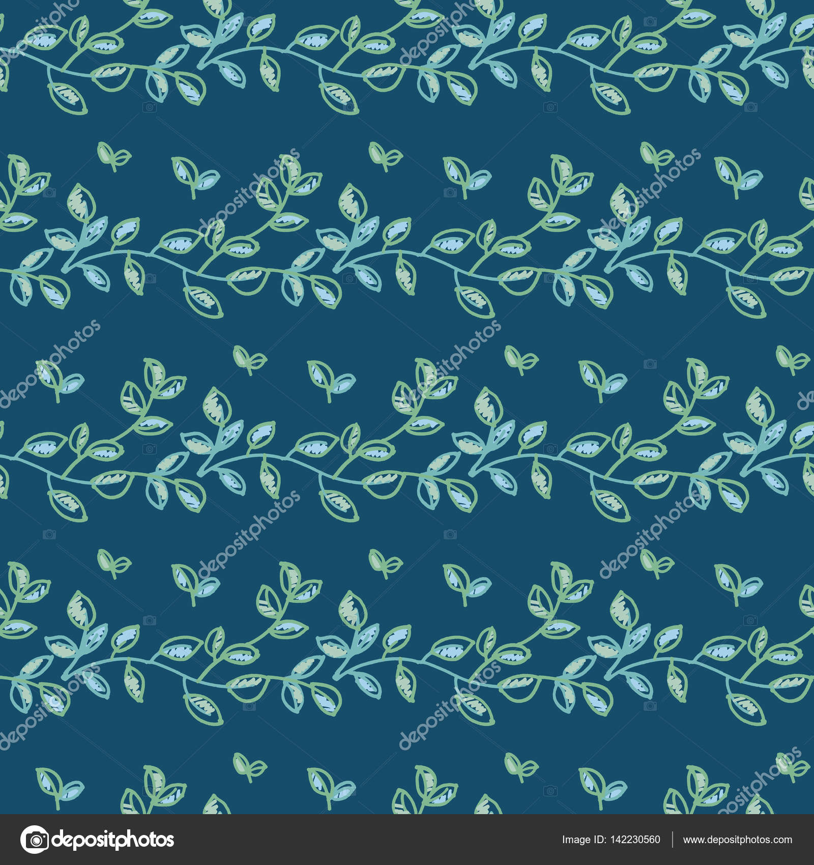 fresh spring color decorative abstract leaves seamless pattern ...