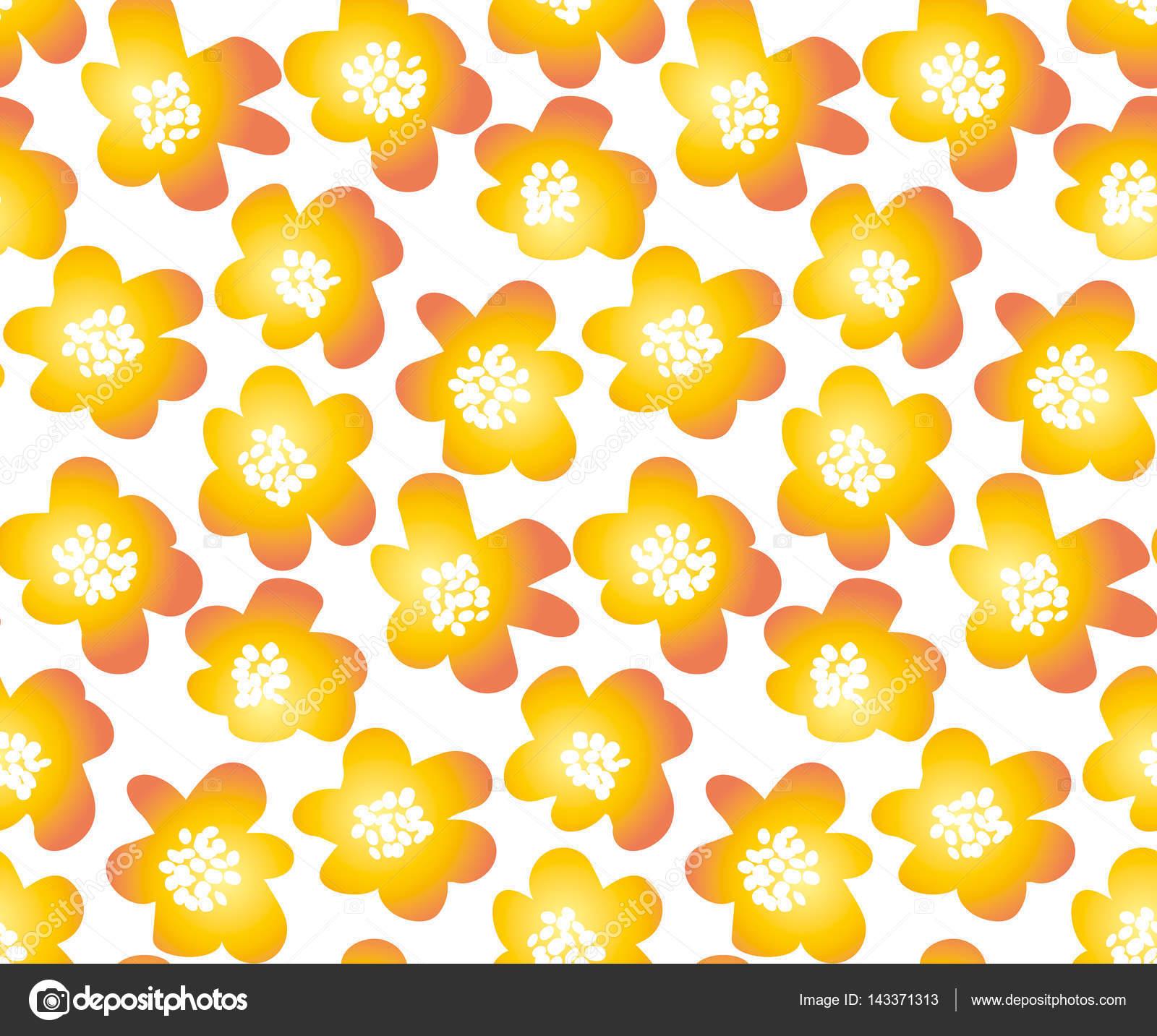 heiße orange Farbe Sommer florale Vektor-Illustration in Retro-60er ...