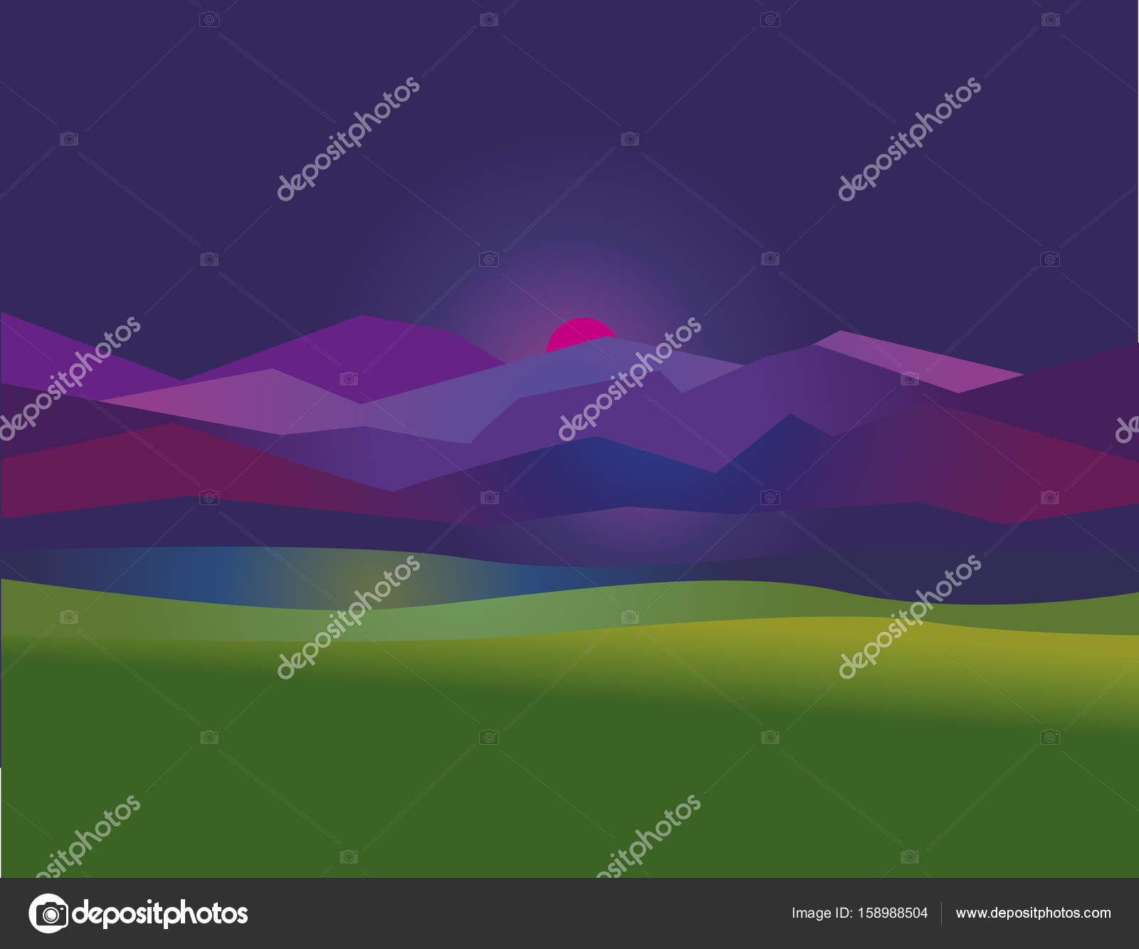 Concept Simple Night Mountain Sunset Landscape Vector Illustration For Web And Print Design Stock