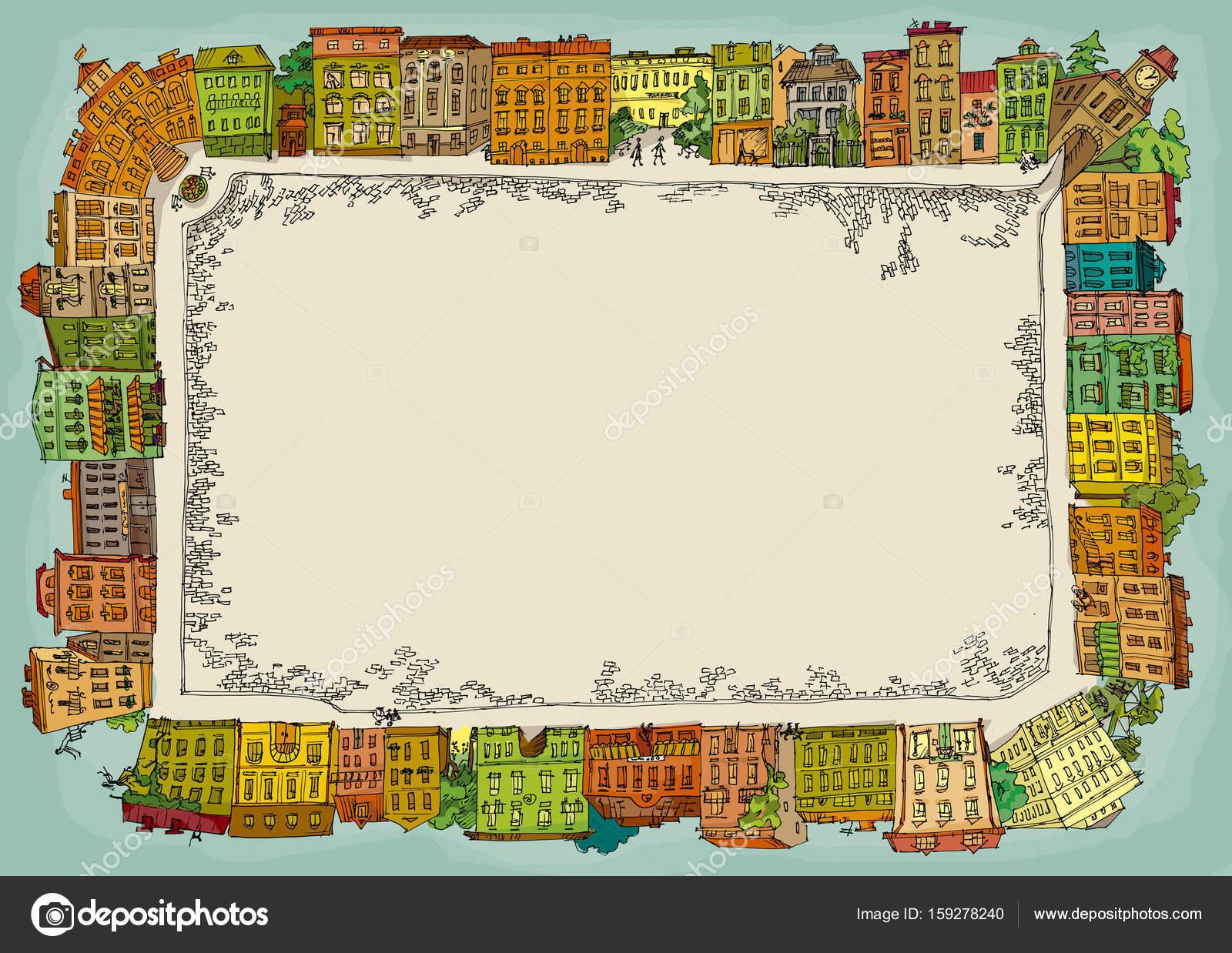 古いヨーロッパの町正方形プラザ...
