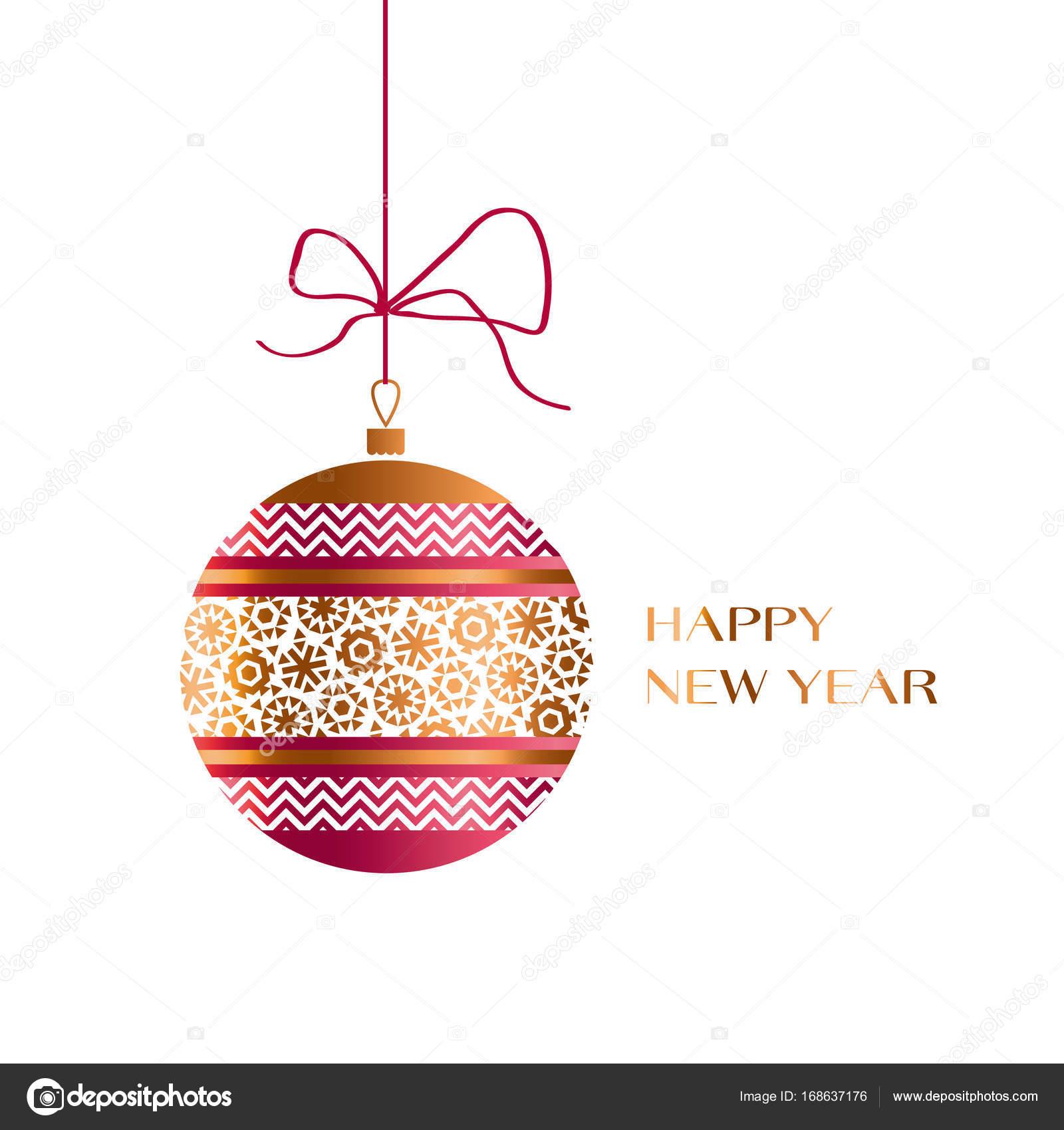 Xmas Glaskugel in Farben rot und gold. Weihnachten verziert ...