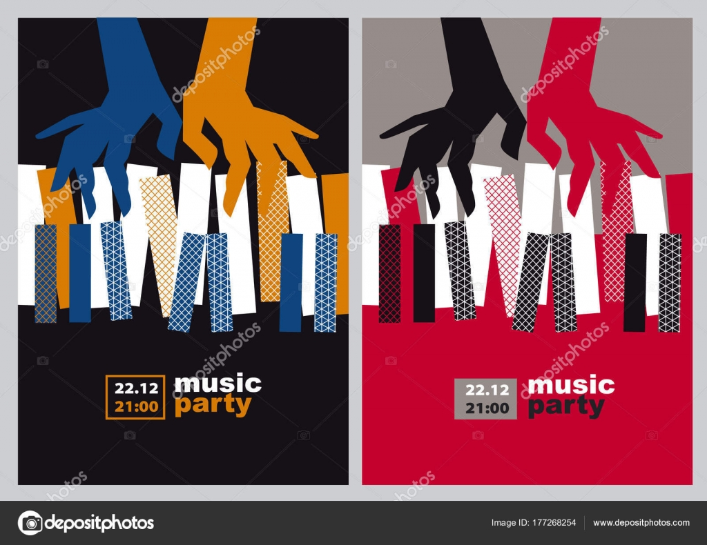 Hands And Piano Keys Vector Illustration Modern Concept Jazz Concert Poster Stock