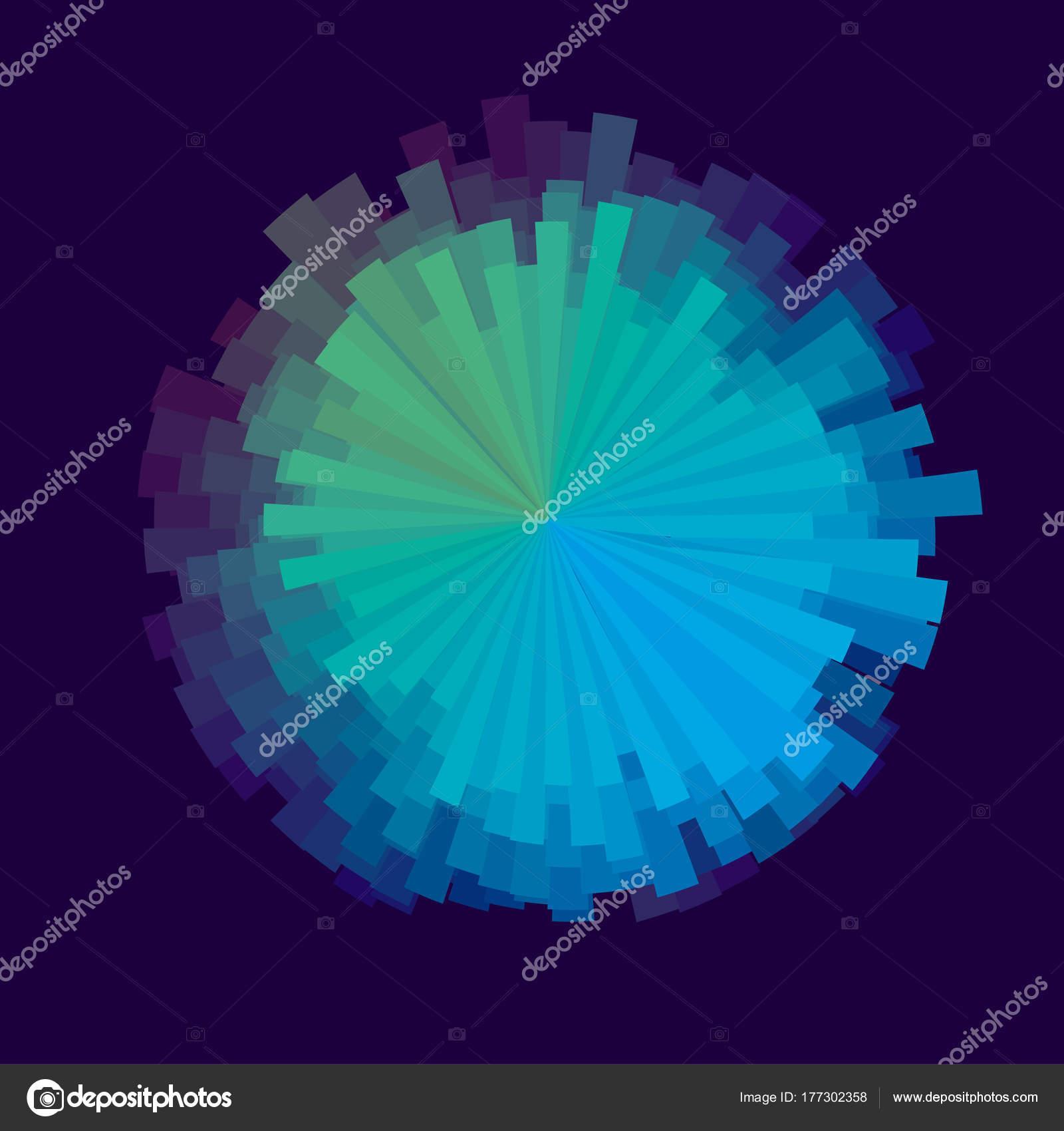 Glitch round design element vector illustration  Abstract