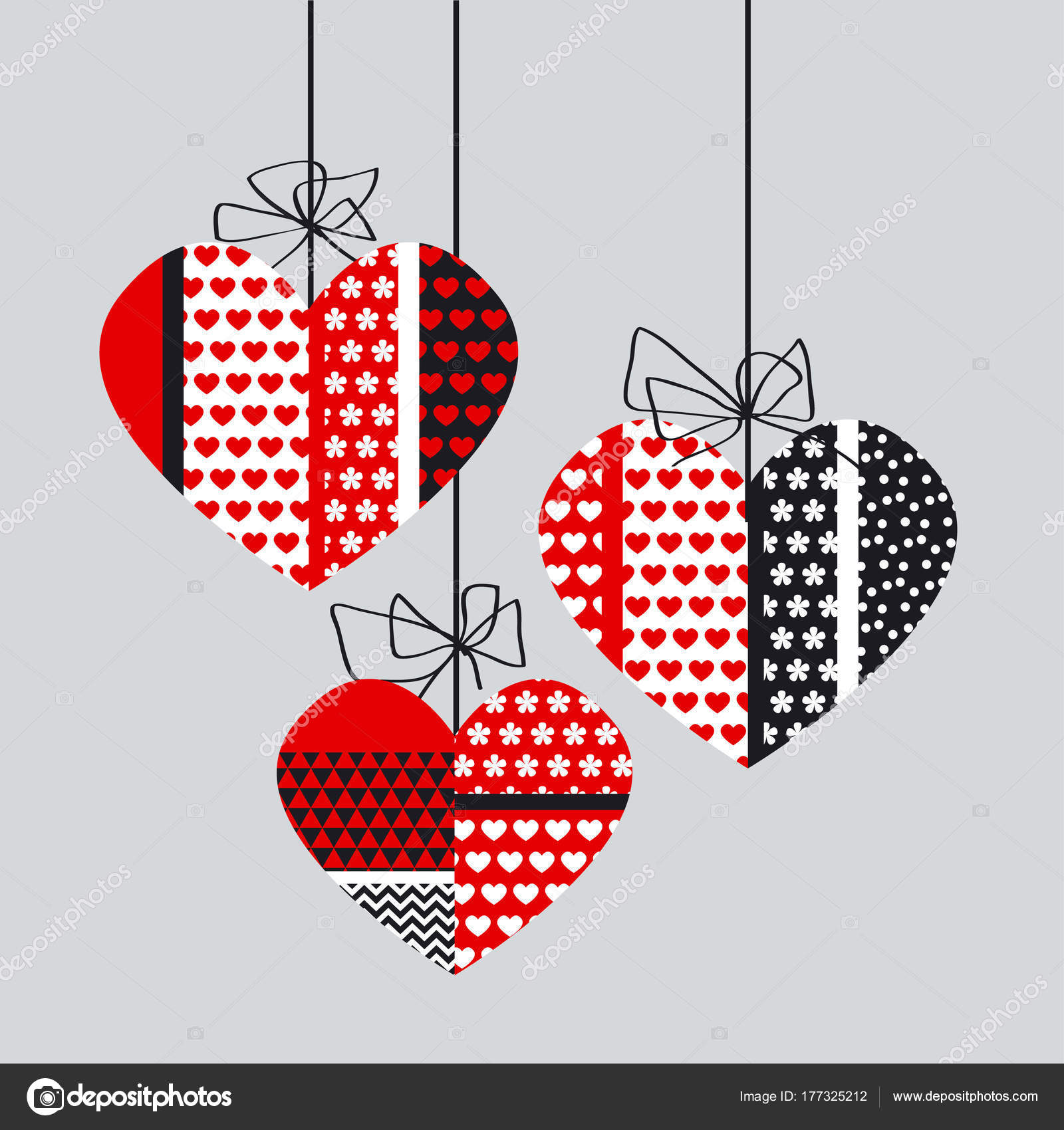 Abstract black and red decorative heart set. Concept Valentine ...