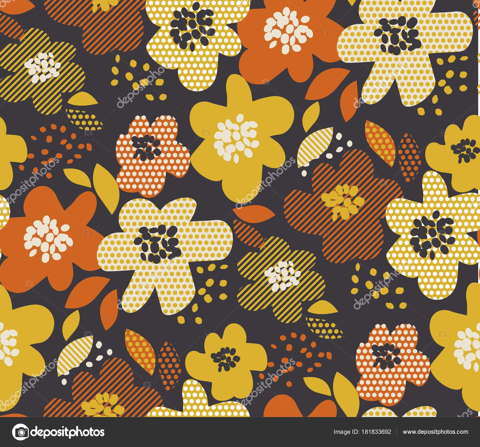 Einfach frei gezeichneten nahtlose Blumenmuster. Retro 60er Jahre ...