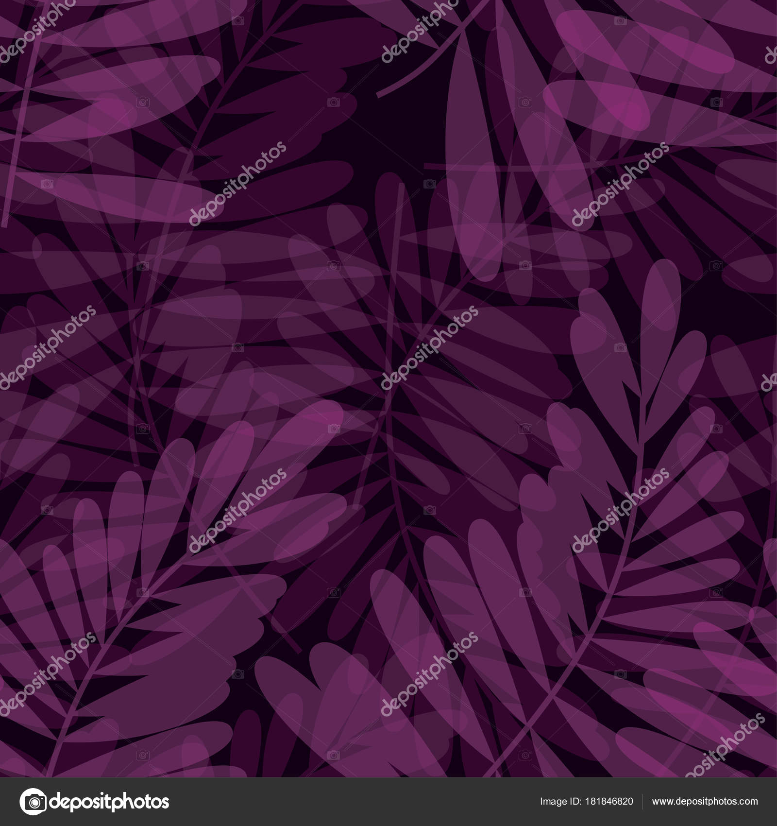 Purple Violet Tropical Seamless Pattern Vector Illustration For Card