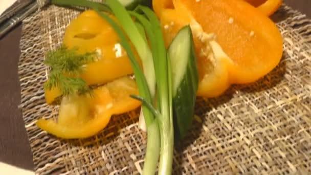 Paprika, okurka, zelení, hlávkový salát, centimetr, zdravé stravování