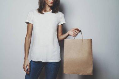 girl wearing blank white t-shirt