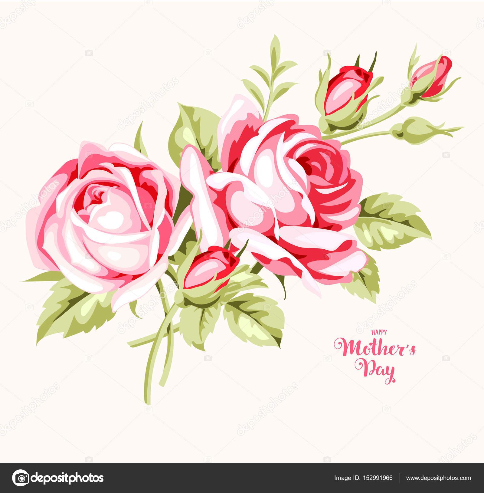 Muttertag Karte.Muttertag Karte Mit Rosa Rosen Stockvektor Gizele 152991966