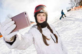 Snowboarder figyelembe selfie