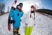 Férfi és nő, snowboard