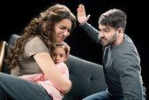 Fényképek agresszív apa és család