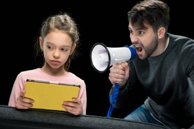 Father and daughter quarreling