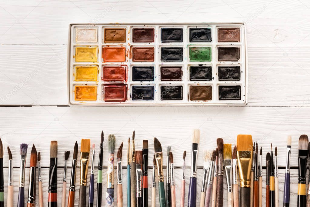 Various paintbrushes and paints