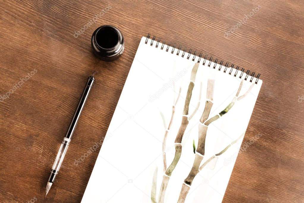 bamboo drawing in album
