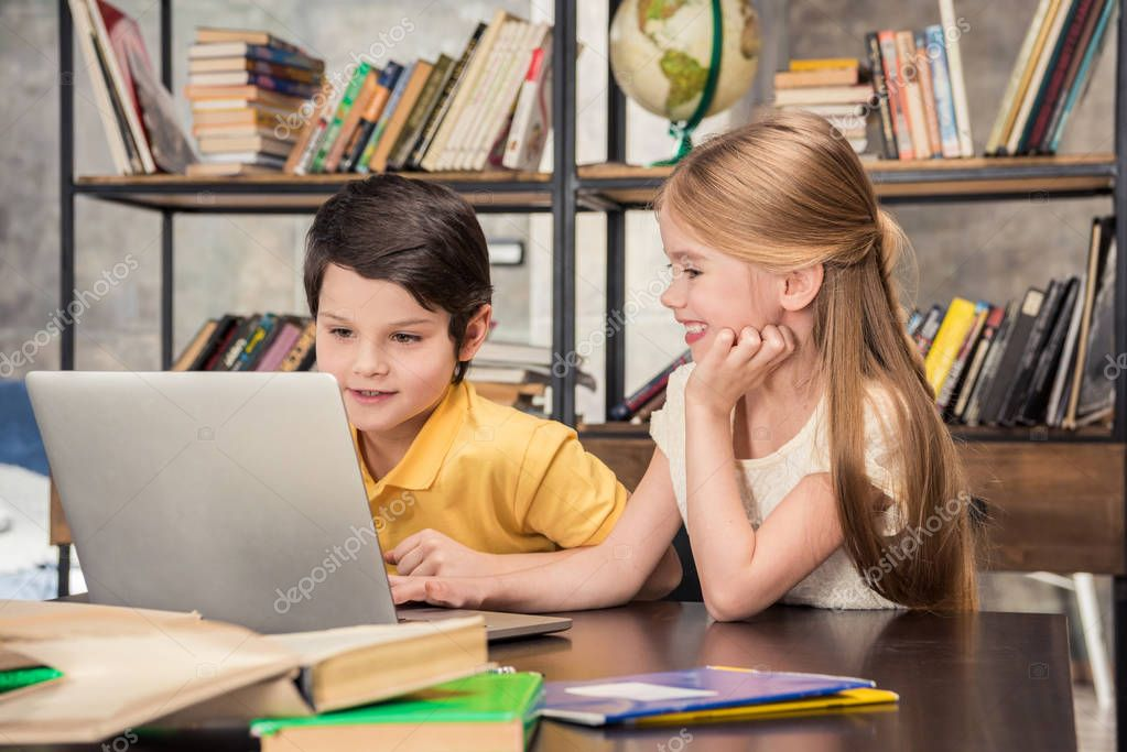 Children using laptop