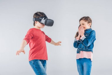 Boy using Virtual reality headset