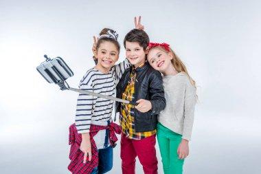 children making selfie