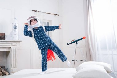 Boy playing astronaut