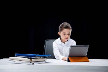 Girl pretending to be businesswoman