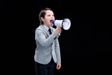 Boy with megaphone yelling
