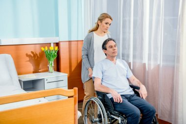 elderly wheelchair man in hospital