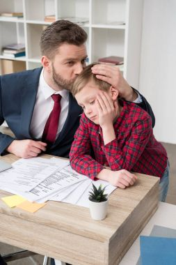 white collar worker with son