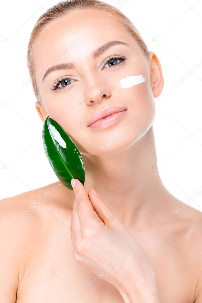 Woman with cream on face