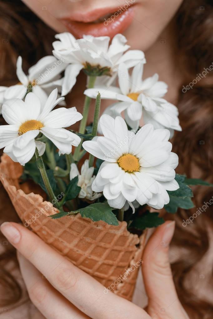 flowers in ice cream cone