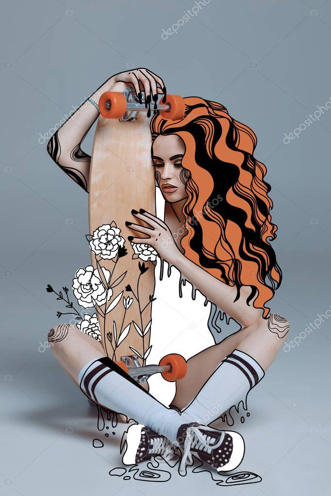 girl hugging longboard