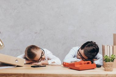 Kids sleeping at workplace