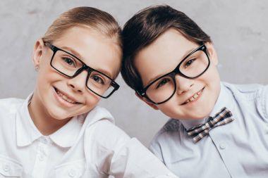 Smiling children in eyeglasses