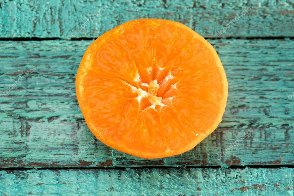 Orange slice on table
