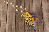 Flowers in shopping trolley
