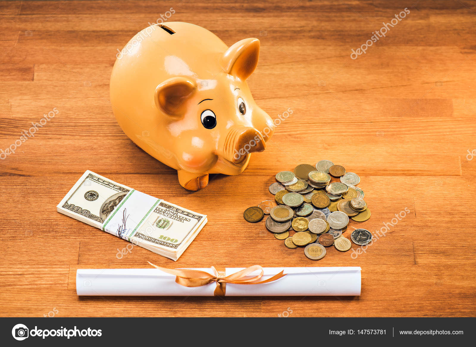 diploma and piggy bank stock photo © sergpoznanskiy  diploma and piggy bank coins and dollars on wooden tabletop education concept photo by sergpoznanskiy