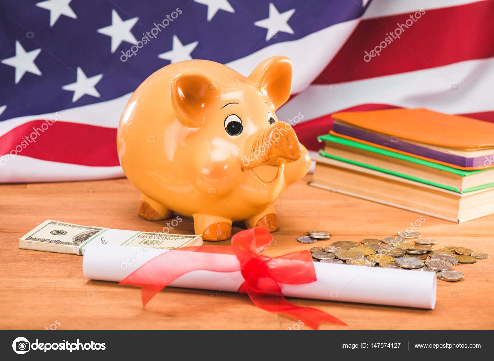 diploma and piggy bank stock photo © sergpoznanskiy  diploma and piggy bank coins and dollars usa flag behind education concept photo by sergpoznanskiy