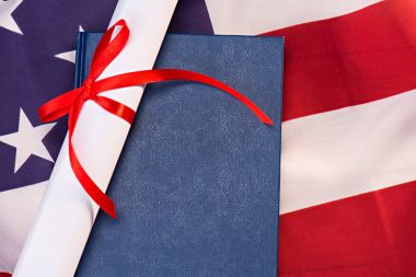 Diploma and us flag